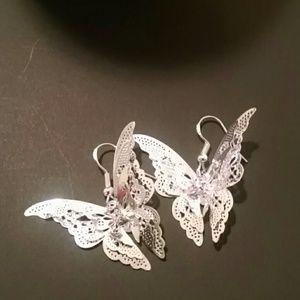 925 Butterfly Dangle Earrings NWOT